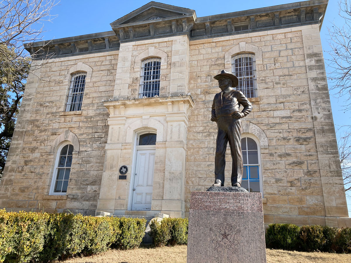 Wallace Riddell statue at the old Burnet County Jail